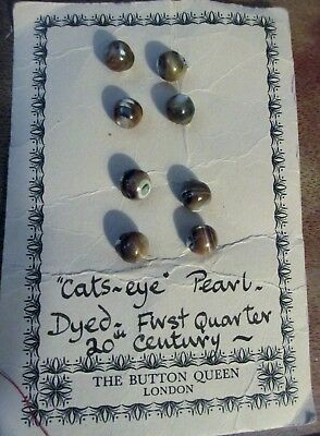 """8 VTG Antique Victorian """"Cats~Eye"""" Pearl Dyed Small Round Buttons-Early 1900""""s"""