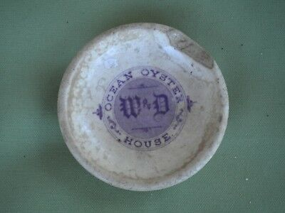 Rare 1800s W&D Ocean Oyster House Ironstone Butter Pat Maryland Wash. D.C.