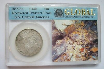1853-So 50 Centavo Recovered Treasure from S.S. Central Amaerica Shipwreck