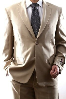 Mens Single Breasted 2 Button Beige Dress Suit, Pl-60212N-223-Bei