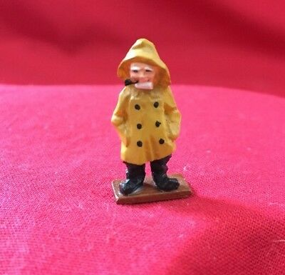 Dollhouse Miniature Sea Captain Yellow Rain Coat & Hat Pipe
