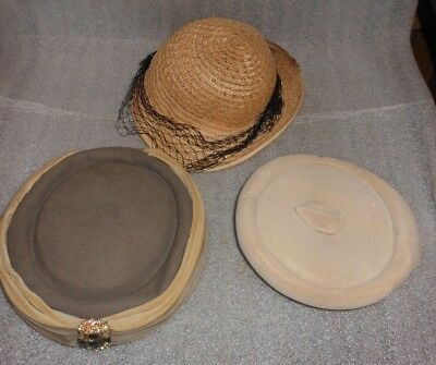 Lot of 3 Older Lady's Fashion Hair Accessories Half-Hats Brown Various styles