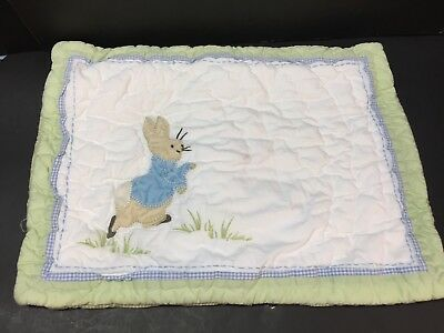 Pottery Barn Kids PETER RABBIT Small QUILT_ed SHAM Toddler Crib Bunny