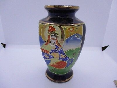 "Hand Painted Coblat Blue Asian Japan Pottery Vase Geisha Marked W/ ""h"" In Flower"