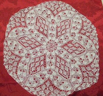 Vintage KNITTED DOILY very find thread which give a lacy look, clean and in EC