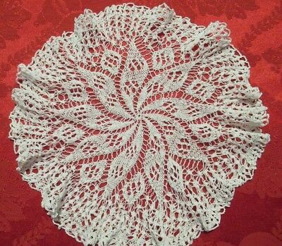 Vintage KNITTED DOILY very fine cotton with pinwheel design in centre, lacy look