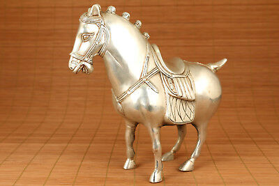 big chinese old copper tibet silver hand casting horse vintage statue figure
