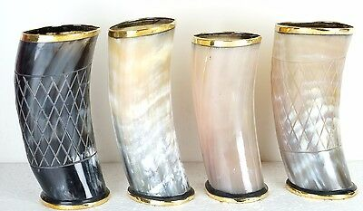 "Brother gift 5"" drinking horn Mug cups brass designed ale beer wine mead  outr"