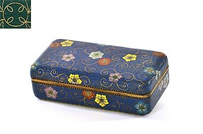 1900's Japanese Gilt Cobalt Blue Cloisonne Enamel Shippo Box Marked Ando