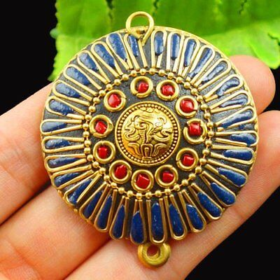 Brass Bronze Wrapped Red Coral Round Pendant Bead 46x9mm L41668