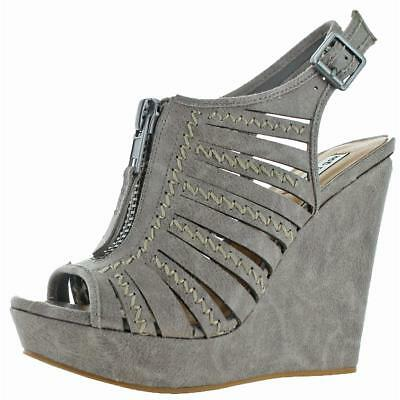 456993f8d507 NOT RATED WOMENS Adia Gray Cut Out Wedge Sandals Shoes 9 Medium (B