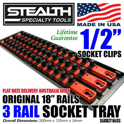 "STEALTH 3 x 18"" Rail Socket Storage 1/2"" Twist Lock System Tray USA Made ERNST"
