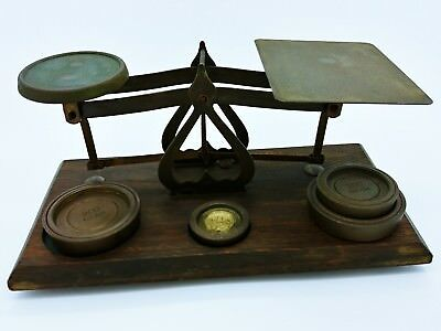 Vintage Post Office Scales &  4 Weights Made in England