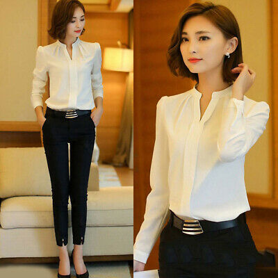 Women Casual V Neck Blouse Formal Shirt Long Sleeve Tops Office Shirts S-XXL