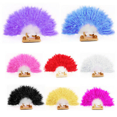 Feather Plastic Fan For Wedding Dance Props Hand Goose Feather Folding Fan New
