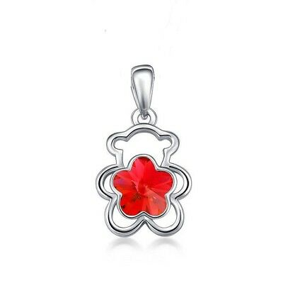 AUSTRIAN red CRYSTAL TEDDY BEAR pendant SILVER necklace women FREE gift box
