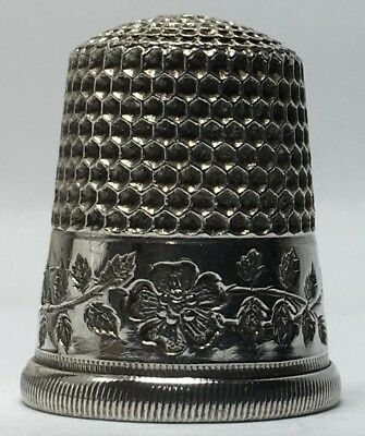 Simons Bros. Sterling Thimble - 'Wild Rose Band' - Cat. #243 - Size 9 - c1920s