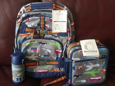 0e2a06f4aa 3pc Pottery Barn Kids Brody Transportation Large Backpack Water Bottle  Lunch Bag