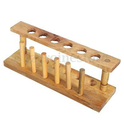 Wooden Lab Test Tube Storage Holder Bracket Rack 6 Holes With 6 Stand Sticks New