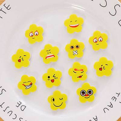 10X Cute Yellow Flowers Pencil Rubber Eraser Erasers Stationery_Students: