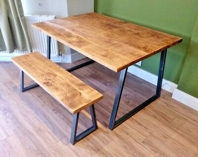 Industrial Reclaimed Rustic Style Dining Table Farmhouse Vintage Wood and Steel