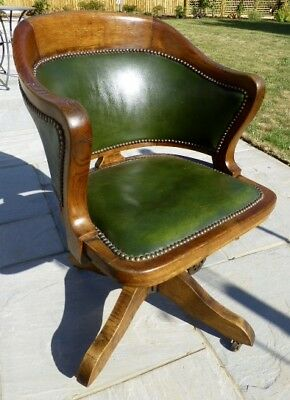 Antique Oak Captains Swivel Office Desk Chair