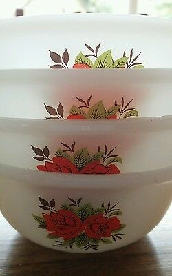 Set of 4 Phoenix  Glass (Pyrex ) small bowls /Dishes - Roses  Design