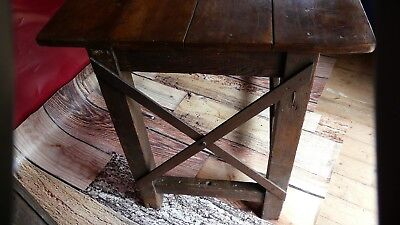 antique Industrial work table c 19th Century with iron cross straps great look