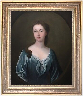 Portrait of Young Lady Antique Oil Painting circle of Michael Dahl (1659–1743)