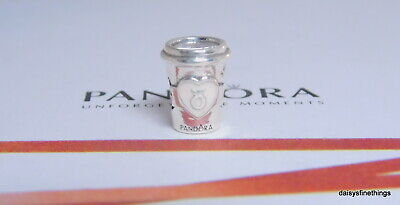 New/tags Authentic Pandora Silver Charm Drink To Go Pink Enamel #797185En160