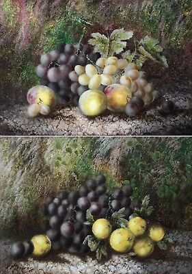 Still Life with Fruit Antique Oil Painting 19th Century English School - A Pair