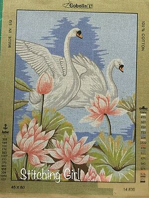 Swans And Lily Flowers Tapestry To Stitch