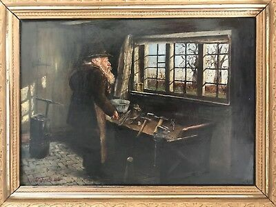 Portrait of a Tinsmith in his Workshop. C1880 Oil on Canvas
