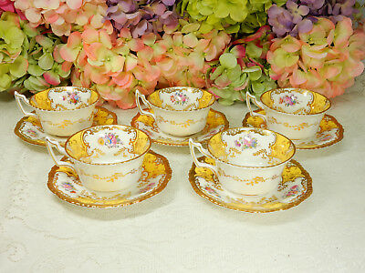 5 Coalport Porcelain Cups & Saucers Y2480 Floral Yellow Panel Gold Encrusted
