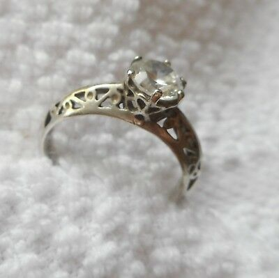 Antique solitaire Ring Sterling silver filigree RING with large white stone