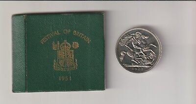 King George Vi Boxed Festival Of Britain 1951 Crown Coin Mint Collection