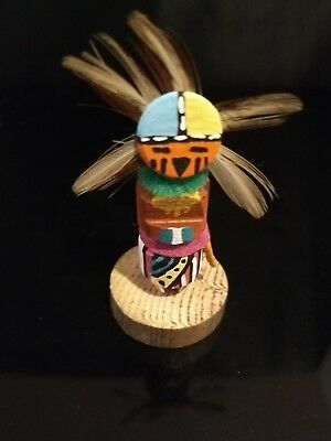 Native American Navajo Authentic 2.5 Mini Sunface  Kachina Doll Signed By CT #5