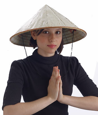 Bamboo Coolie Pointed Hat Chinese Costume Conical Rice Farmer Sun Japanese Asian