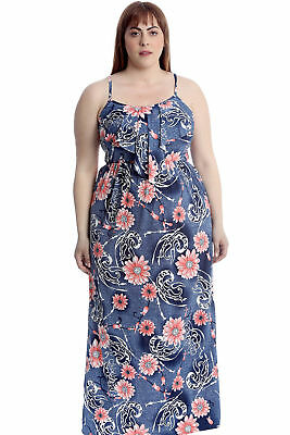 New Women Plus Size Dress Ladies Floral Paisley Print Maxi Frill Neck Sleeveless