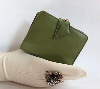 Olive Green Vinyl 1950s Vintage Coin Purse Wallet Note Pad With Comb & Mirror