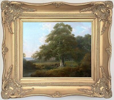 A Pastoral Landscape Antique Oil Painting Early 19th Century English School