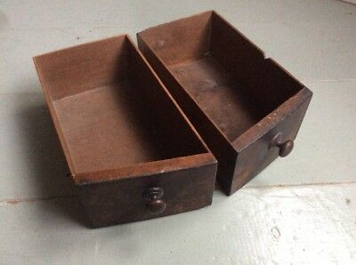 2x Antique Vintage Angled Front Wooden Storage Drawer Tray Box Desk Tidy