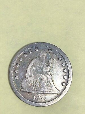 1877 CC Seated Liberty Quarter Very Fine!! Toned