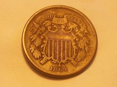 "***1864  Two Cent Piece Faint ""we""  Scarce Old Coin"""""