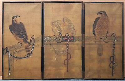 Antique 34in Signed Chinese Japanese 3 Panel Scroll Set Bonobu Screen Paintings