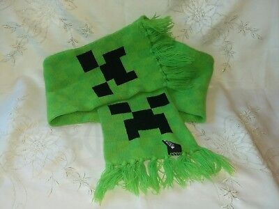 Official Minecraft Mojang Green Black Creeper Scarf Excellent Condition