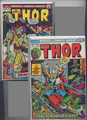 Thor #212 & #213 (1973) Marvel, Nice 2 Issue Lot, Bag & Boarded, See the Scans