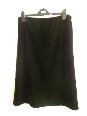 Ladies Excellent Black Velvet A-Line Maternity Skirt By Mothercare - Size 10-12