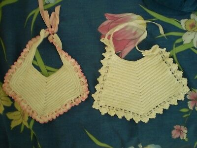 Vintage 2 Crocheted Baby Bibs With Ribbon Handmade