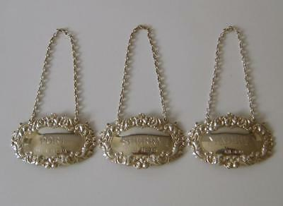 A Matched Set Of 3 Sterling Silver Decanter Labels Birmingham 1972 & 1977